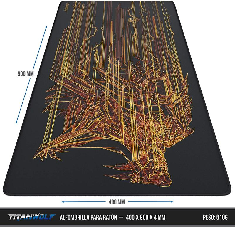 Alfombrilla Gaming TitanWolf Orange Lightning